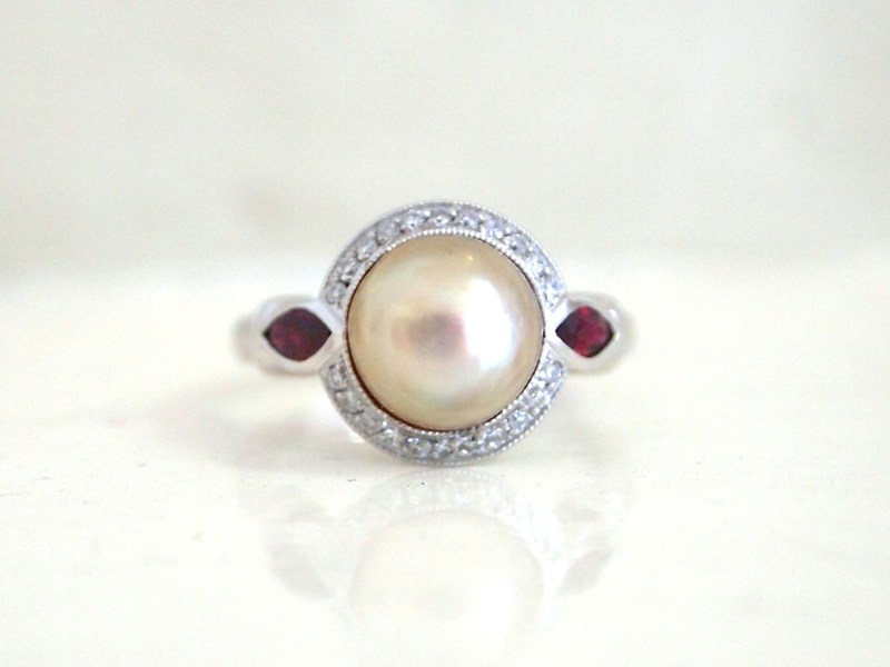 pearl ruby diamond ring 8306-1 TOP.JPG