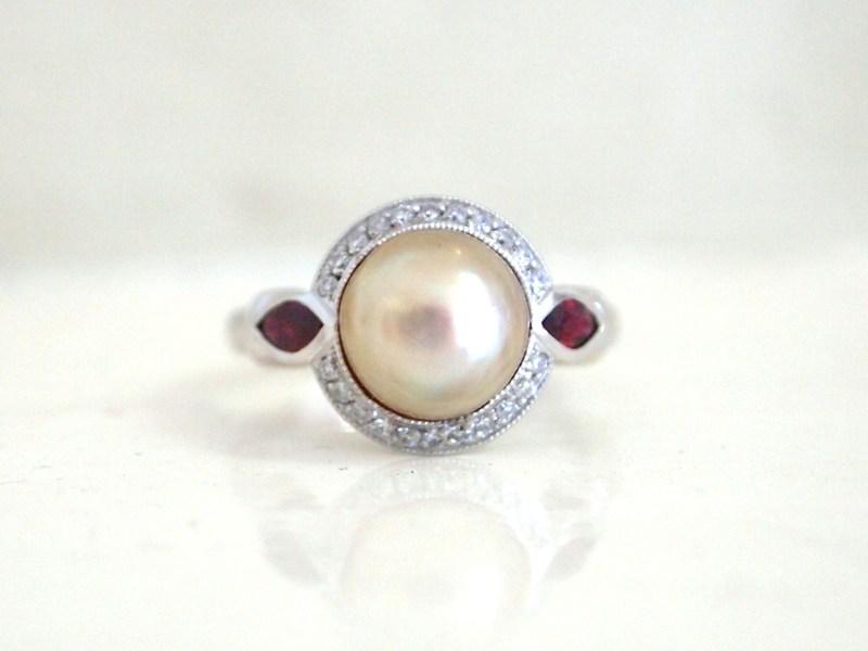 pearl ruby diamond ring 8306-1 TOP.JPG