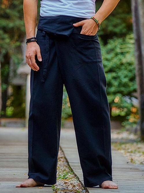 Black Thai Fisherman Cotton Pants