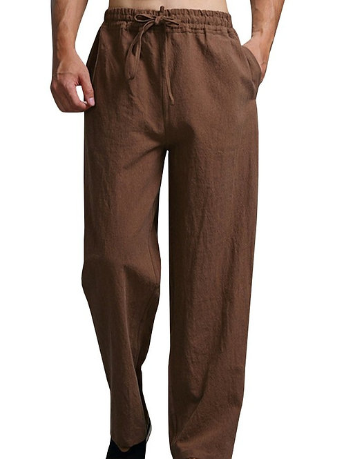 Brown Men's Nepalese Drawstring Cotton Pants