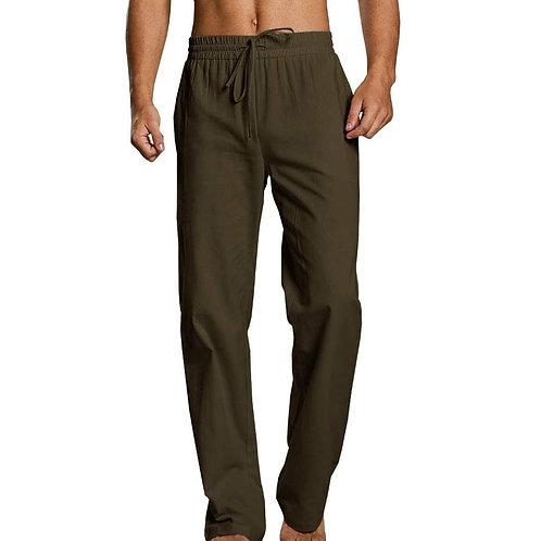Green Men's Nepalese Drawstring Cotton Pants