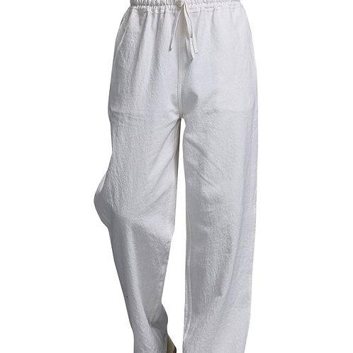 White Men's Nepalese Drawstrings Cotton Pants