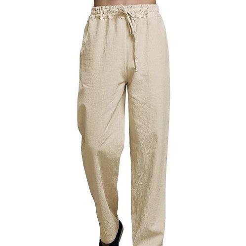 Khaki/Tan Men's Nepalese Drawstrings Cotton Pants