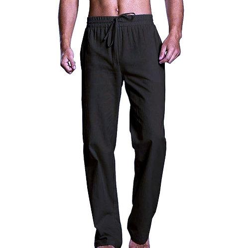 Black Men's Nepalese Drawstrings Cotton Pants