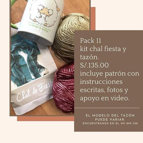 Pack 11. Kit chal fiesta y tazón. Incluye patrón con instrucciones escritas, fot