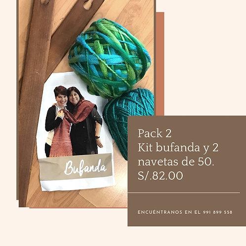 Pack 2. Kit de bufanda y 2 navetas de 50cm