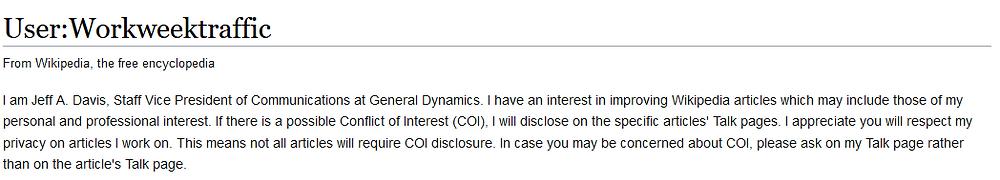 Workweektraffic COI disclosure