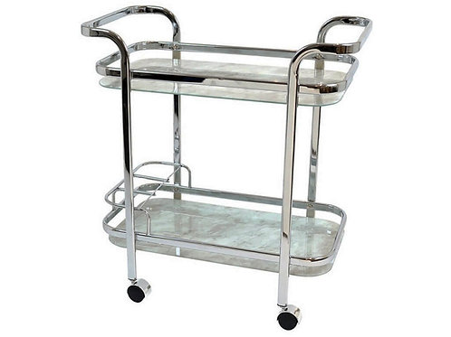 Chrome Bar Trolley with marble Tempered glass