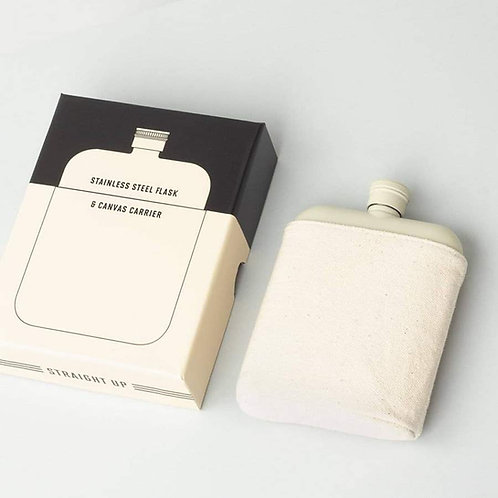 Cream 6oz Flask with Canvas Carrier
