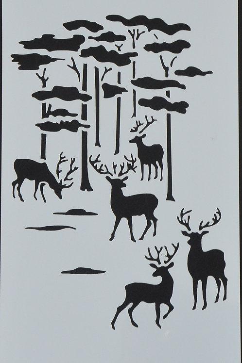 Plastic sjabloon nummer 19 met herten. Afmeting 12 bij 23