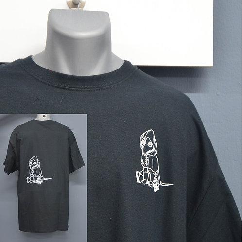 Unisex shirt zwart met zeefdruk wit