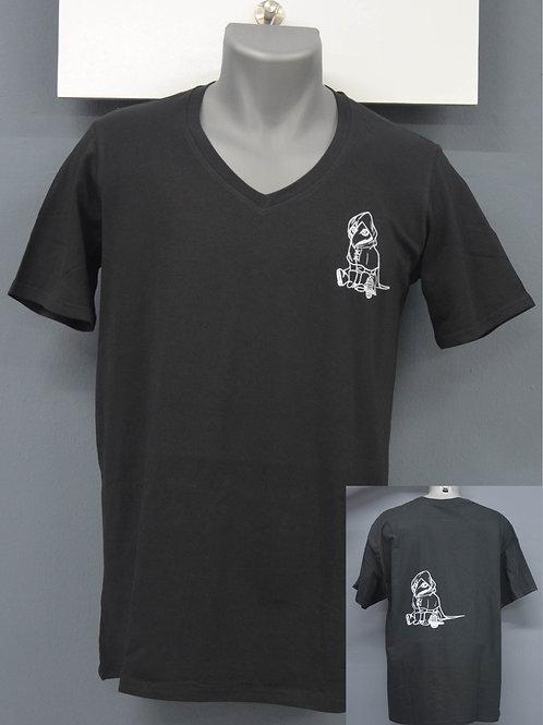 Unisex shirt zwart met witte zeefdruk