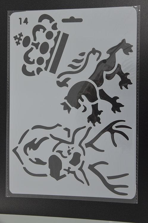 Plastic sjabloon leeuw en kroon, A5.