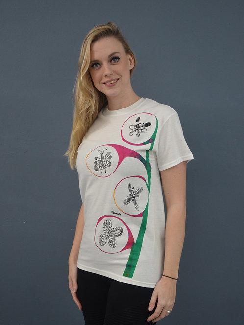 Shirt wit met vlinders (zeefdruk)
