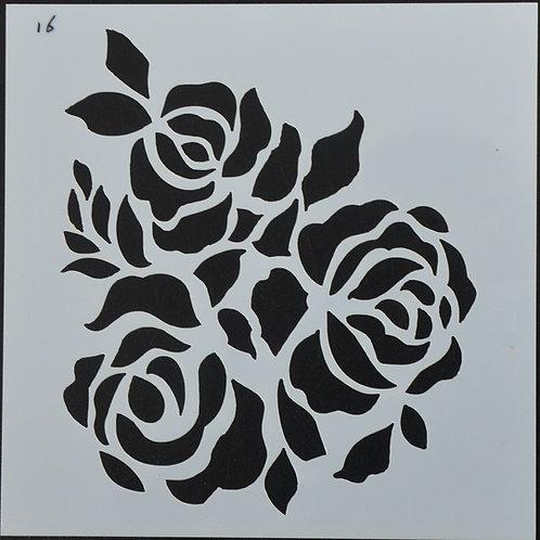 Plastic sjabloon nummer 16 rozen. Afmeting 13 bij 13.