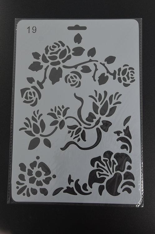 Plastic sjabloon bloemen, nummer 19 A5.