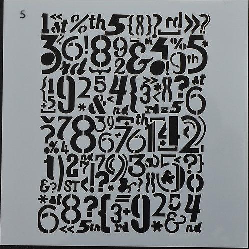 Plastic sjabloon nummer 5 Letters. Afmeting 13 bij 13.