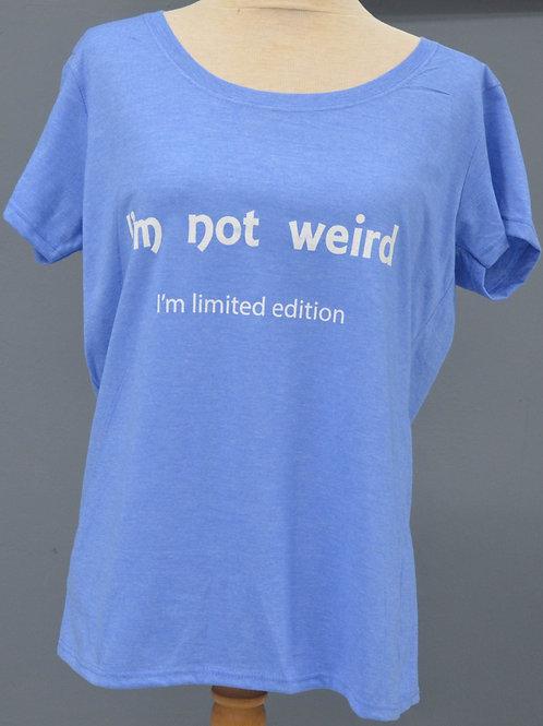 Dames shirt blauw met witte opdruk