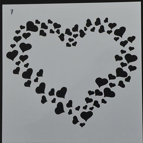 Plastic sjabloon nummer 7 hartjes. Afmeting 13 bij 13.