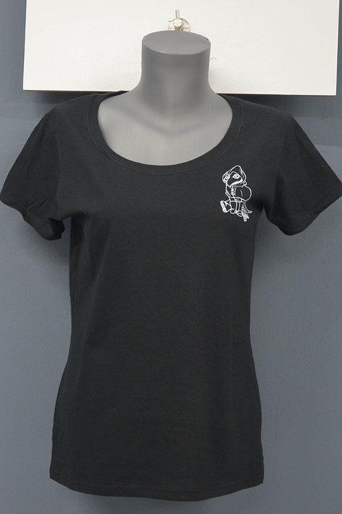 Dames shirt zwart met witte zeefdruk