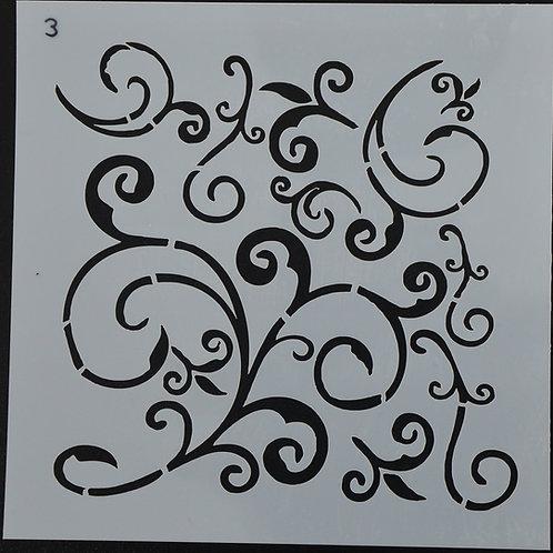 Plastic sjabloon nummer 3 krul. Afmeting 13 bij 13. Te gebruiken voor mur