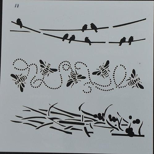 Plastic sjabloon nummer 11 vogels en bijen. Afmeting 13 bij 13.