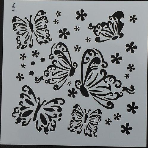 Plastic sjabloon nummer 6 vlinders. Afmeting 13 bij 13.