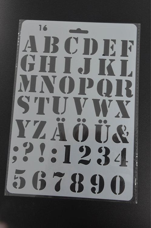 Plastic sjabloon Alfabet nummer 16 A5.