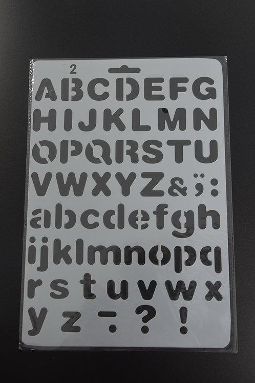 Plastic sjabloon Alfabet nummer 2, A5.