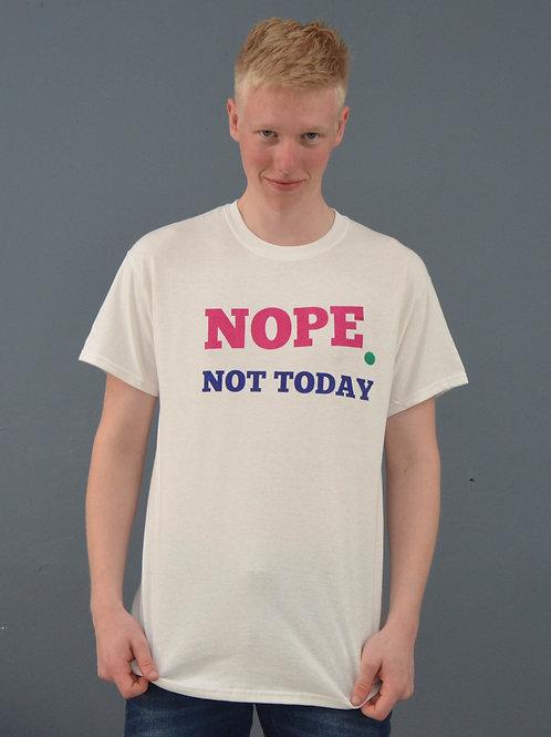 Unisex wit shirt, roze, blauw en groene opdruk,