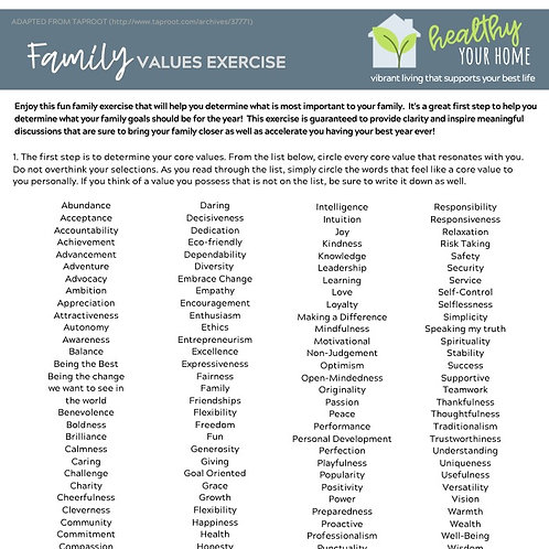 Family Values Exercise