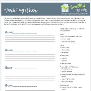 Work Together Worksheet