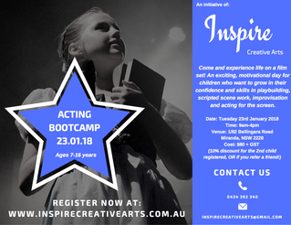 Acting Bootcamp 2018: Registrations Open!