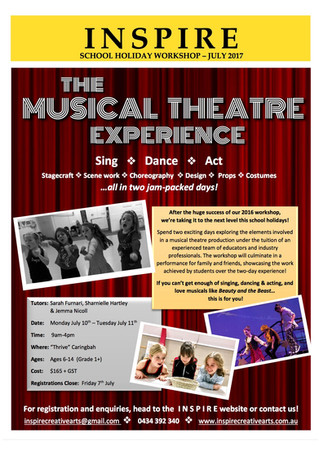 JULY HOLIDAY WORKSHOP: 'The Musical Theatre Experience'