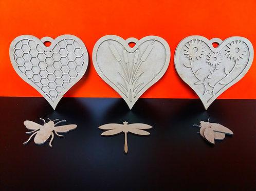 Set of 3 Hanging Hearts - oak (Kit)