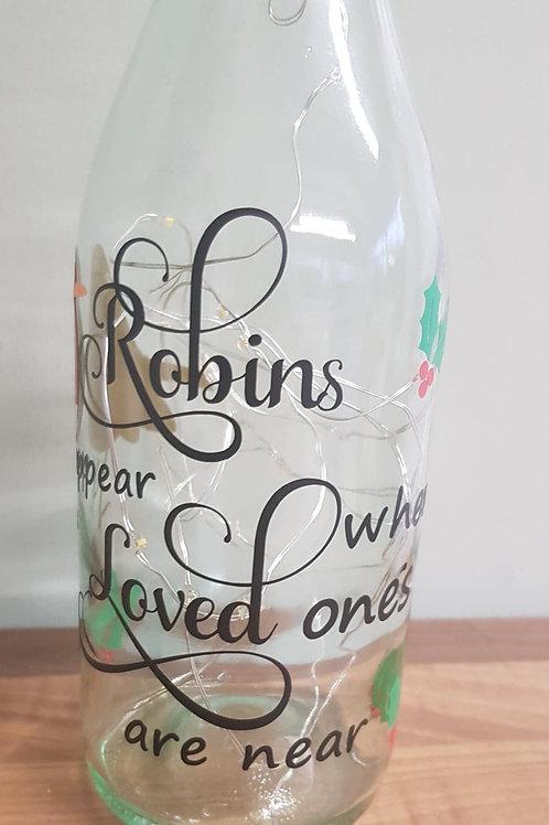 Light up Bottles with Robin Vinyl