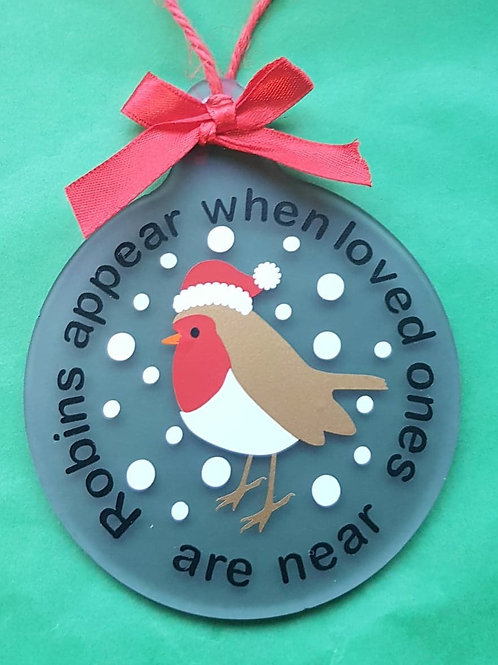 'when Robins are near' Acrylic bauble