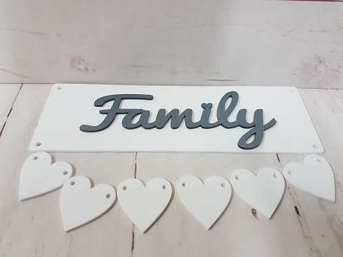 Acrylic Family / Grandchildren Plaques with hearts (Kit)