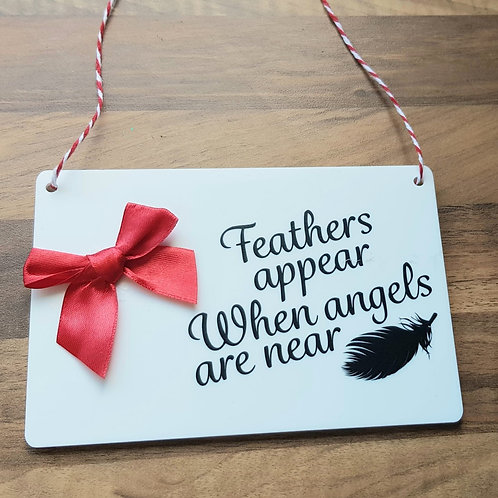 Christmas Feather Hanging Plaque
