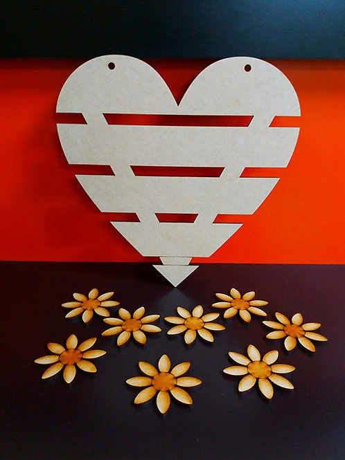 Bar Heart with flowers (Kit)