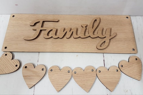 Oak Hanging family / grandchildren Plaques with hearts (Kit)