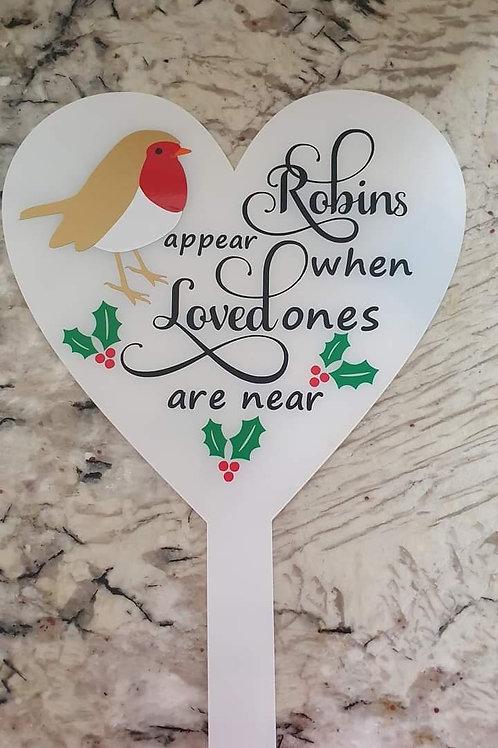 Memorial Robin on heart Grave Marker