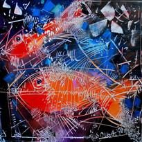 I pesci rossil,60x60cm, olio, tela, 2008