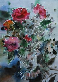 Rose e vaso di cristalo.
