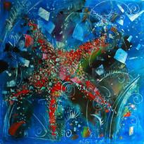La stella marina, 60x60 cm ,olio, tela,