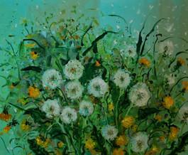 Soffioni, fiori di cicoria ed erbe.