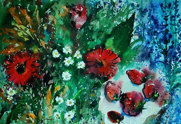 fragole, margherite e fiori rosse