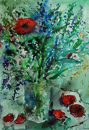 fragole e fiore rosso