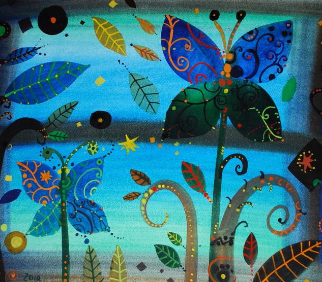 Le farfalle-fiori, acquerello, carta, 20