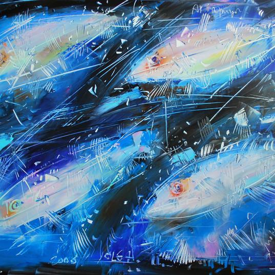 Quattro pesci azzurri 100x80 cm, olio, t